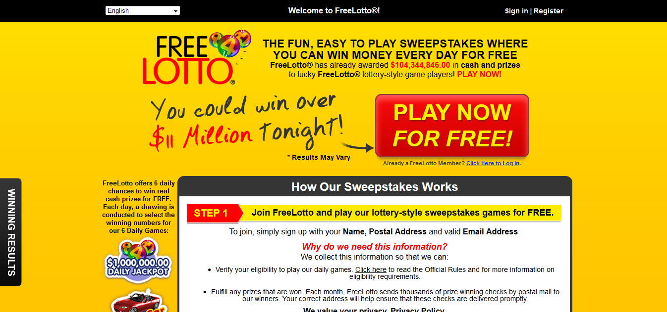 Free lotto games and money sweepstakes