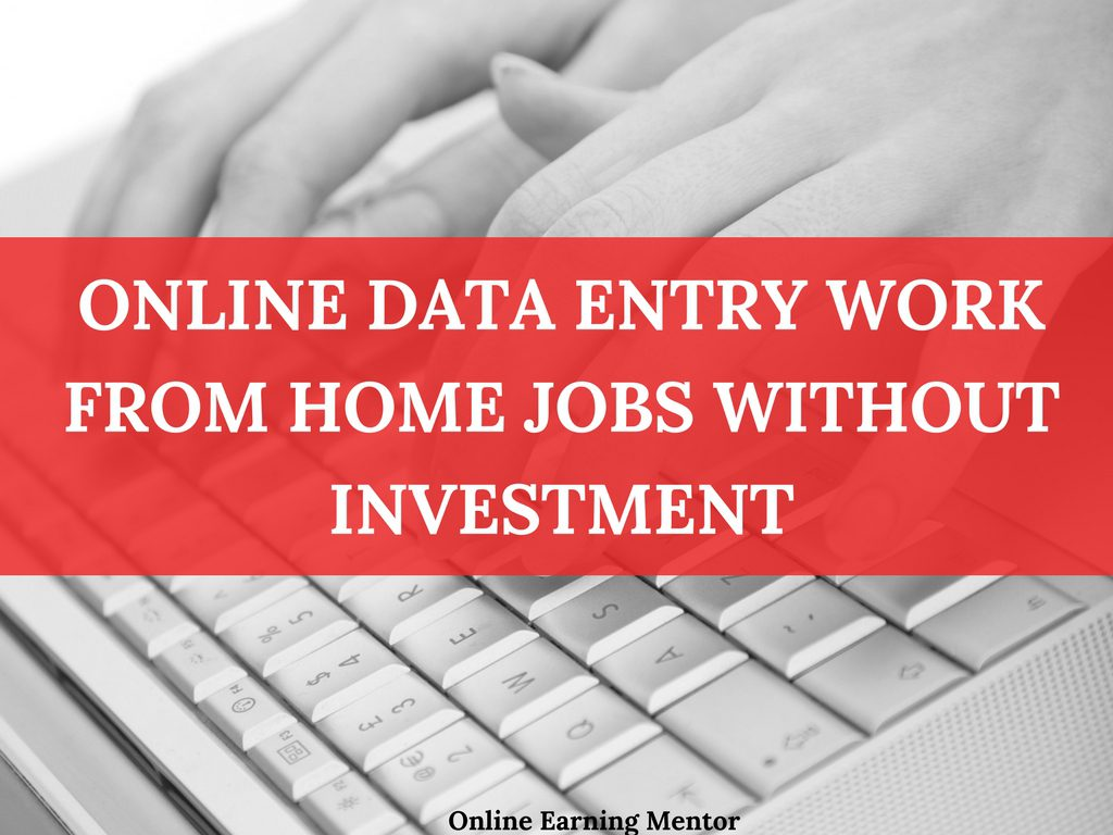 Online Data Entry Work From Home Jobs Without Investment